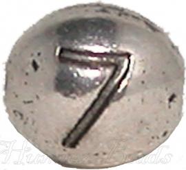 03173 Metalen kraal cijfer 7 Antiek zilver (Nickel vrij) 7mmx6mm; gat 1mm 1 stuks