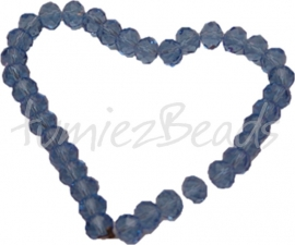 00299 Glasperle imitation swarovski faceted Abacus Blau 6mmx8mm 1 strang
