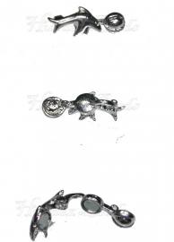 00659 Magneetslot dolfijn met bal Metaalkleurig (Nikkel vrij) 27mmx10mmx10mm 3 stuks