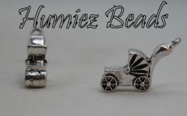 02566 Bedel kinderwagen Antiek zilver (nikkelvrij) 17mmx10mmx9mm