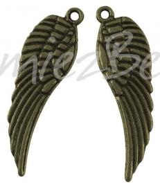 00244 Bedel vleugel Antiek brons (Nickel vrij) 30mmx9mm