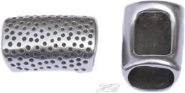 01630 Leerschuiver  Metaalkleurig DQ 23x14mm; gat 10x7mm 1 stuks