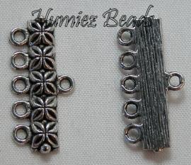 02974 Verdeler 5-rings Antiek zilver (Nikkelvrij) 12mmx25mm 6 stuks