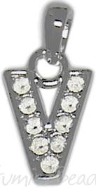 04185 Bedel letter V Metaalkleurig (Nikkelvrij) 25mmx12mmx2mm 1 stuks