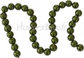 02607 Glasparel streng ±40cm Donker groen 12mm; gat 1mm 1 streng