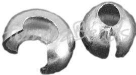 01852 Knijpkraal verberger Metaalkleurig (Nikkelvrij) 4mm ±30 stuks
