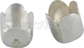 03701 Eindkap tulp Zilverkleurig 7mm; gat 6mm-1mm 12 stuks