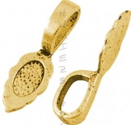00298 Plakoog voor hangers (glue on bail) Antiek goud (Nikkel vrij) 6 stuks