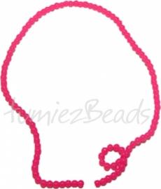 03447 Glaskraal streng (±30cm) imitatie jade Oranje roze 4mm 1 streng