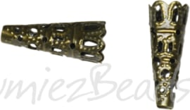 00563 Eindkap filigraan Antiek brons (Nikkelvrij) 22mmx9mm; gat 3mm 11 stuks
