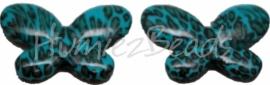 01407 Acryl kraal vlinder Blauw 34mmx45mm 3 stuks