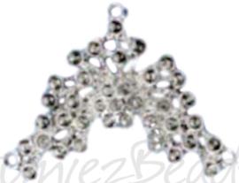 04326 Verdeler Ornament 2-1 gaats Metaalkleurig (Nikkelvrij) 32mmx42mmx3,5mm; oog 1mm 1 stuks
