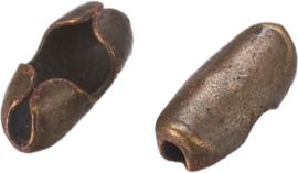 01594 Metaal klemmetje voor ball-chain  Antiek brons (Nikkelvrij) 5mmx2,5mmx2mm; voor 1,5mm ball chain 12 stuks