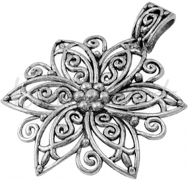 02495 Hanger bloem Antiek zilver (Nikkelvrij) 55mmx3mm 1 stuks