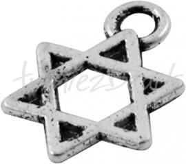 02838 Bedel Davidster Antiek zilver (Nickel vrij) 9mmx13mm
