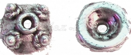 00394 Kralenkap dotjes Antiek zilver (Nikkel vrij) 3mmx8mm 15 stuks