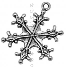 00380 Bedel sneeuwvlok Antiek zilver (Nikkel vrij) 29mmx22mm