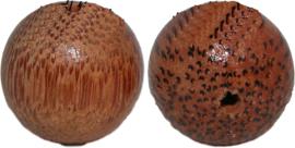 01228 Kraal hout rond print Bruin 24mm 3 stuks