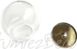 00609 Glazen bol set Transparant / platinum deksel 30mm 1 stuks