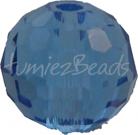 00082 Glaskraal Imitatie Swarovski 5000 round Dark sapphire 4 stuks