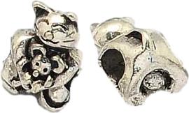01224 Metalen kraal Poes / Kat Antiek zilver 15,5x10x11mm: gat 5mm 1 stuks