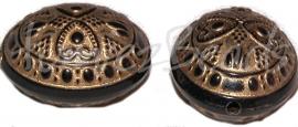 01950 Acryl kraal ei Zwart goud 21mmx18mm; gat 2mm 6 stuks