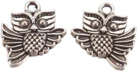 04453 Bedel Uil Antiek zilver (Nikkelvrij) 18mmx15mmx3mm; Gat 2mm 5 stuks