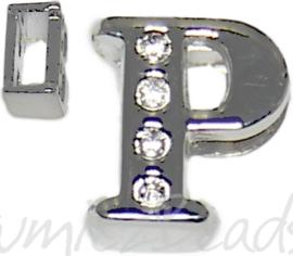 04251 Schuifkraal Letter P Metaalkleurig (Nikkelvrij) 9mmx8mm; gat 6,5mmx3,5mm 1 stuks
