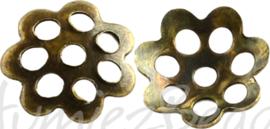 03138 Kralenkap filigraan Antiek brons 6mmx1mm; gat 1mm ±40 stuks