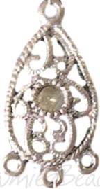 04191 Verdeler druppel  Antiek zilver (Nikkelvrij) 28mmx15mmx1,5mm; oog 2mm 5 stuks