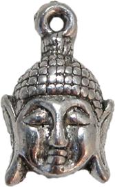01933 Bedel boeddha hoofd Antiek zilver 20mmx12mm