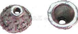 00679 Kralenkap bedrukt Antiek zilver (Nikkel vrij) 6mmx9mm 12 stuks