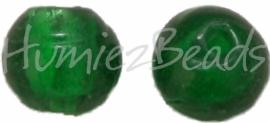 02922 Glaskraal zilverfoil rond Donkergroen 10mm
