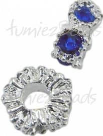 01671 Rondel bling Metaalkleurig / blauw 13,5mmx6,5mm; gat 5mm 1 stuks
