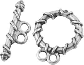 02970 Kapittelslot 2-draads Antiek zilver (Nikkelvrij) 18mmx15mm 4 stuks