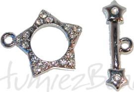 01122 Kapittelslot ster rhinestone Metaalkleurig / Chrystal 26mm 1 stuks