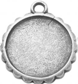 02188 Hanger cabochon setting Antiek zilver (Nikkelvrij) 23mmx19mmx2mm; Binnenzijde 16mm 1 stuks