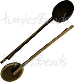 01209 Haarspeld met setting Antiek brons 65mmx2mm; setting 19mmx14mm; inner 18mmx13mm