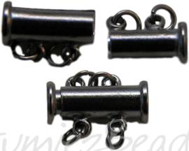 00772 Magneetschuifslot 2-rings Gunmetal 15mmx7mm 1 stuks