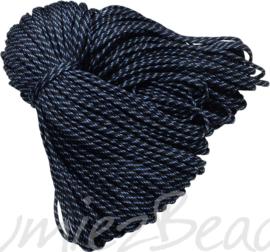 PARA-4036 Parakoord Zwart-wit-blauw 4mm 6 meter