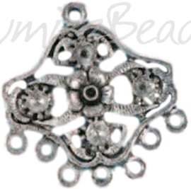 04201 Verdeler Germana Antiek zilver (Nikkelvrij) 26mmx25mmx1,5mm; oog 2mm 2 stuks