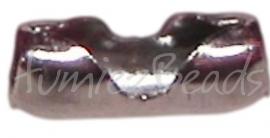 00861 Metaal klemmetje voor 2,5mm bolketting Metaalkleurig 9mmx3mm 12 stuks