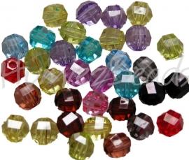 01497 Acryl perle rund Facet Mix color 7,5mm 20 stück