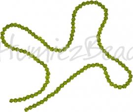 03996 Glaskraal imitatie swarovski Bicone streng ±40cm Olivine 4mm  1 streng