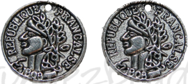 02857 Bedel munt Antiek zilver (Nickel vrij) 15mm 11 stuks
