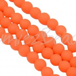 03872 Glaskraal rubberized Neon streng (±25cm) Oranje 12mm; gat 1,5mm  1 streng