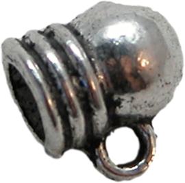 02029 Eindkap met oog Antiek zilver 6mmx8mm 11 stuks