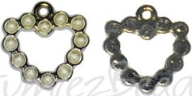 04194 Bedel hart Antiek zilver (Nikkelvrij) 20mmx14mmx2mm; oog 1,5mm 4 stuks