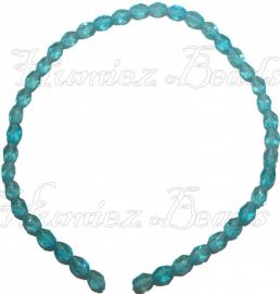 01261 Glaskraal streng (±30cm) Licht blauw 7,5mmx6mm 1 stuks
