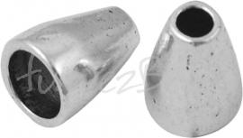 03768 Eindkap glad Antiek zilver (Nikkelvrij) 6 stuks
